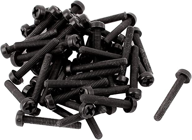 300 Pcs M3 x 5mm Black Nylon Phillips Pan Head Machine Screw Insulation Screw