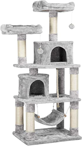 YAHEETECH 58.7 inches Cat Tree Cat Towers Cat Condo with Platform Hammock, Scratching Posts for Kittens Pet Play House with Plush Perch for Indoor Activity Relaxing