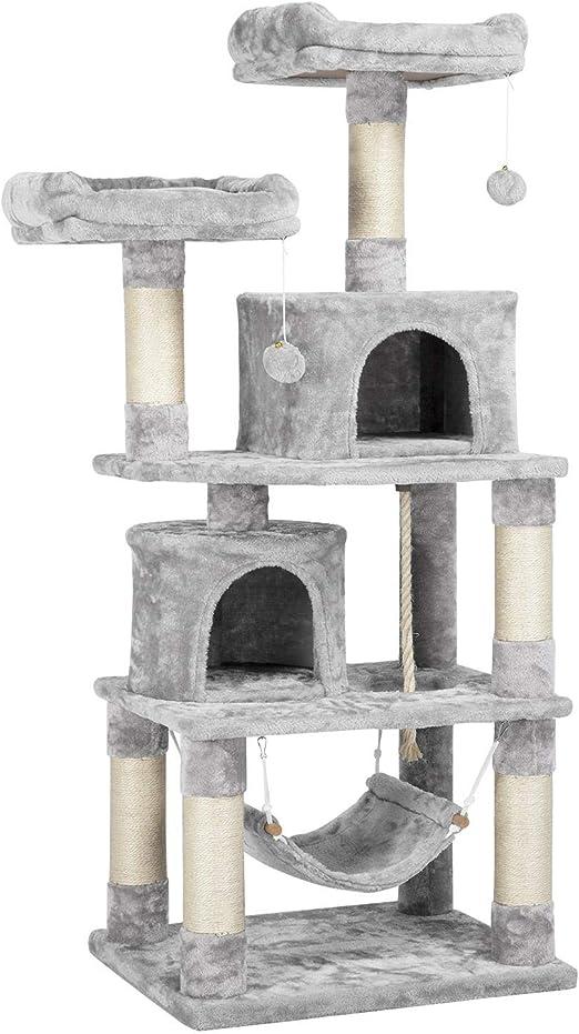 Yaheetech Árboles para Gatos Rascador Juego para Mascota Casa de Gatos Sisal Plataformas Altura 145 cm Gris Claro: Amazon.es: Productos para mascotas