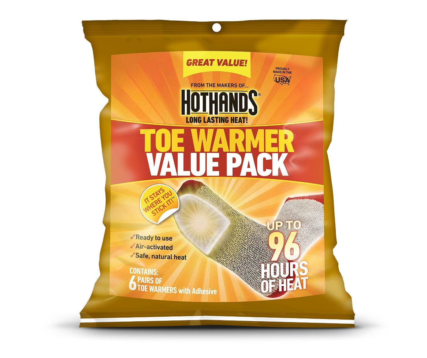 HotHands Adhesive Toe Warmer 72 Pair Value Pack