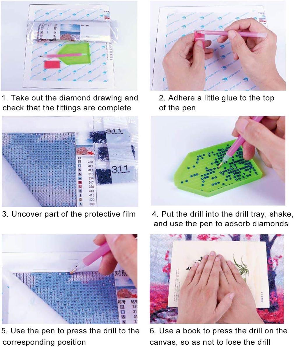 4 Packung DIY Diamond Painting Stickerei YIMAKJ 5D Diamant Full Malerei Dekoration f/ür Home Wanddekoration