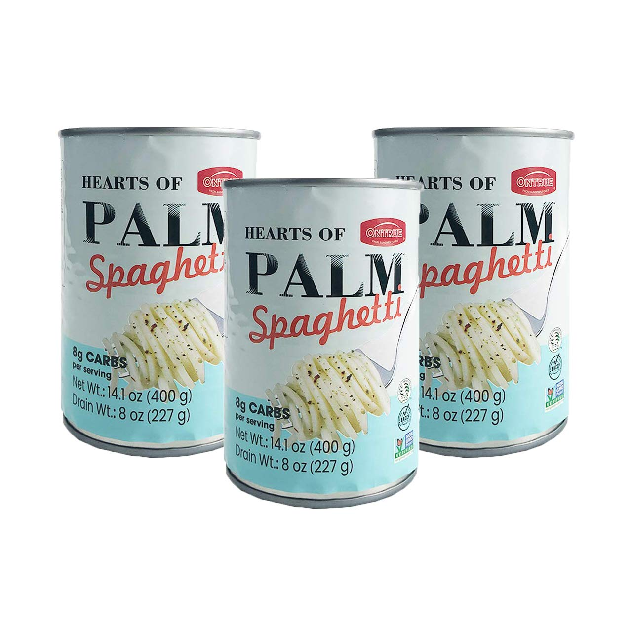 ONTRUE Spaghetti Heart Of Palm Noodles, Vegan, Low Calorie Food, Gluten Free, Fat Free, Keto Friendly Angel Hair, Low Carbs Linguine, All Natural Healthy Diet, Pasta Substitute, 14.11oz (Pack of 3)