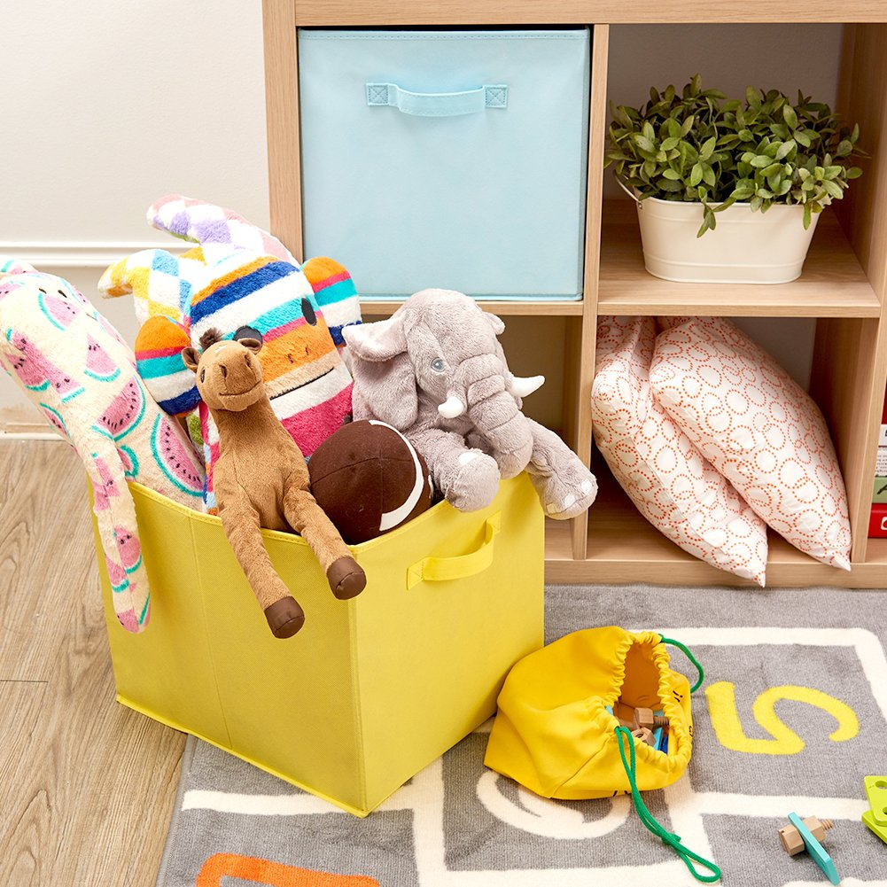 Amazon.com : EZOWare Set of 4 Foldable Fabric Basket Bin, Collapsible Storage Cube Boxes for Nursery Toys (13 x 15 x 13 inches) Assorted Color : Baby