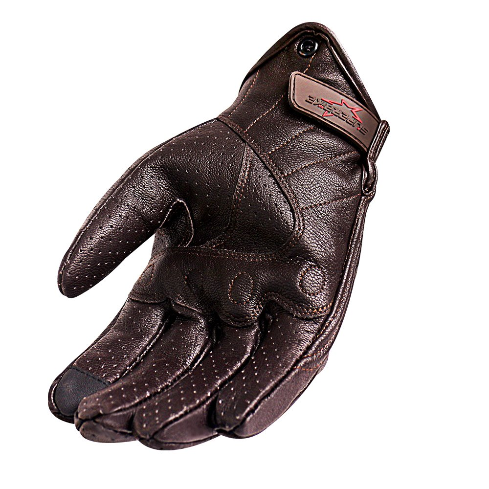 Men's Brown Motorcycle Gloves Full Finger Genuine Goatskin Leather Street Bike Gloves With Touchscreen Finger(Brown,Perforated,M) by Superbike (Image #5)