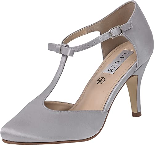 34eacc82dc0f LEXUS Womens T Bar Shoes Closed Toe Medium Kitten Heel Plain Satin Fabric  With Bow On The Ankle Strap  Amazon.co.uk  Shoes   Bags