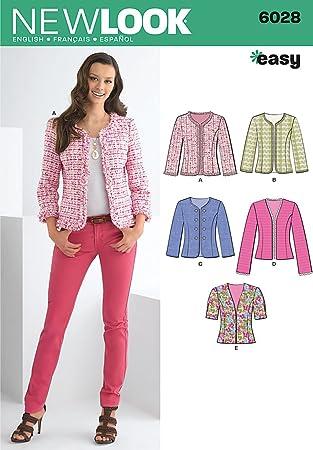 New Look Schnittmuster 6028 A für Damenjacken, Größen: 34-44: Amazon ...