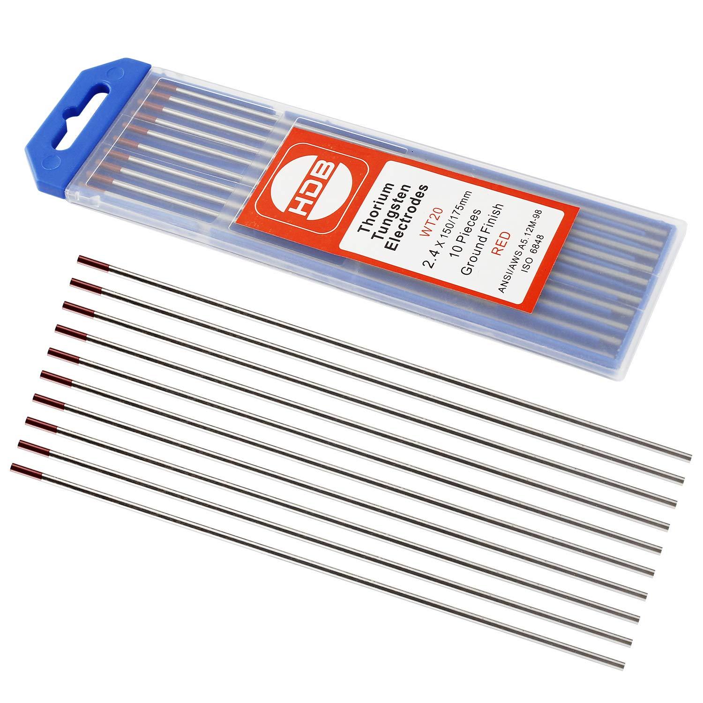 10 Pièces Aiguille d'électrode de Tungstène de WT-20 rouge 2.4Ø x 175 mm Soudage TIG BAODE