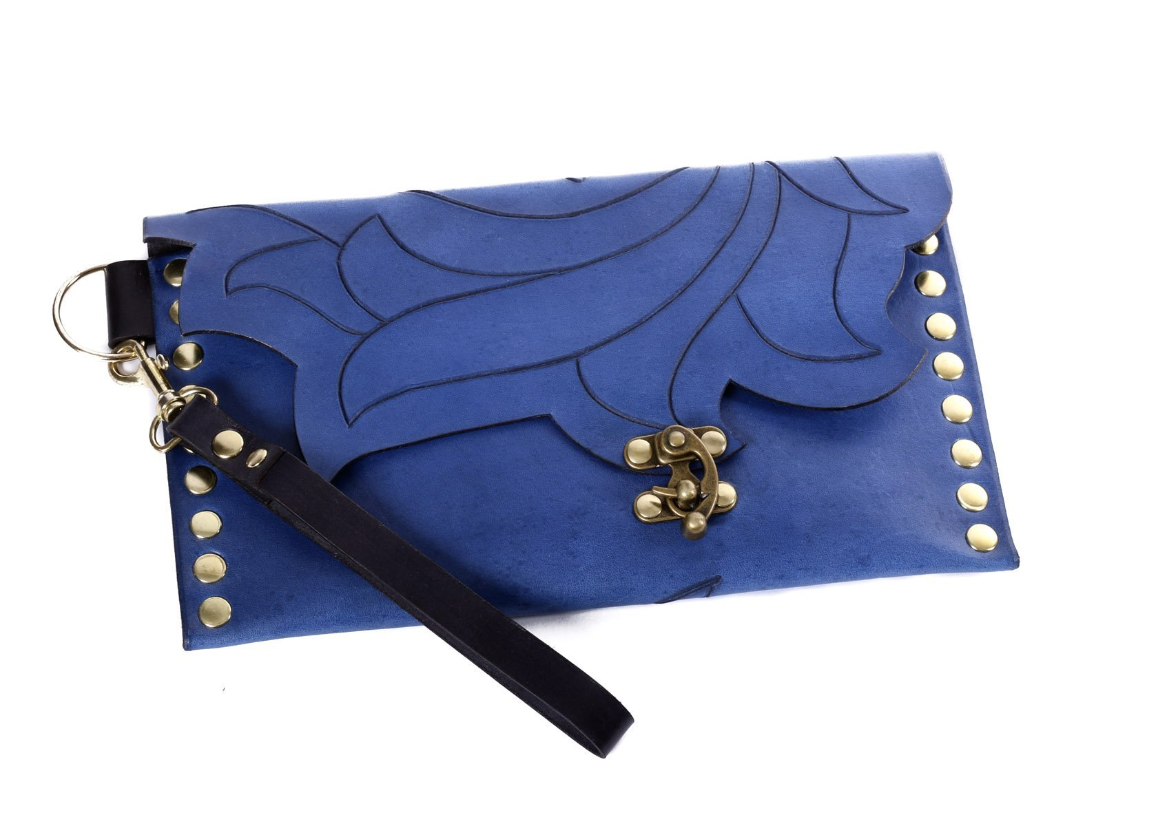 Leather blue lotus clutch or wristlet with clasp