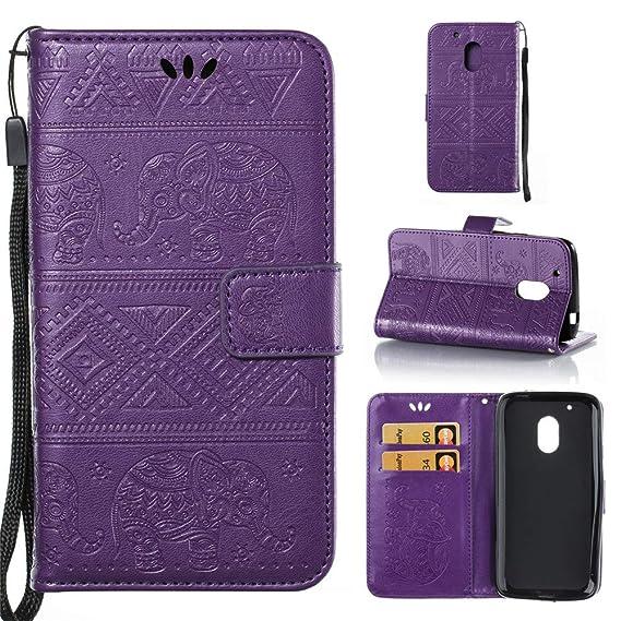 huge discount 43dd8 db4b1 Amazon.com: Moto G4 Play Wallet Case,IVY [Embossed Elephants ...