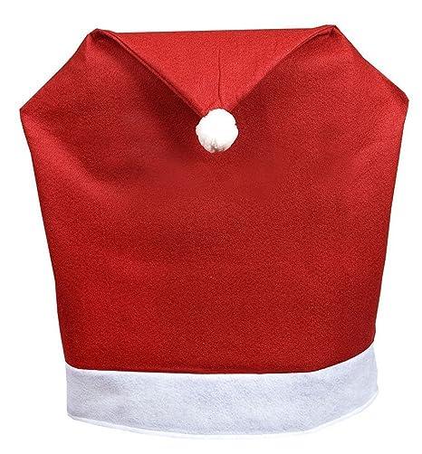 4 Maxi Cappelli Babbo Natale Copri Sedia Natalizi Coprisedie