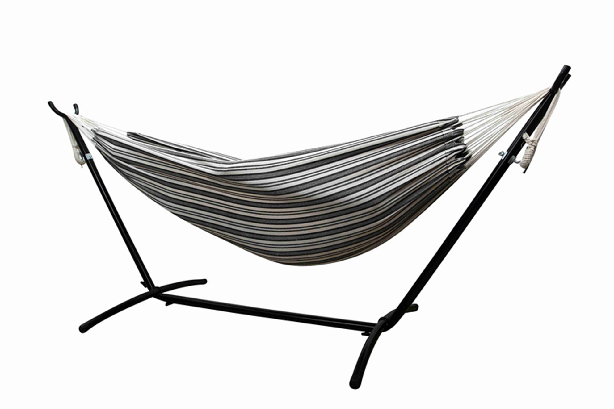 Funnylife Double Hammock with Steel Stand - Space Saving Two Person Lawn and Patio Portable Hammock with Travel Case (Passion) Canvas