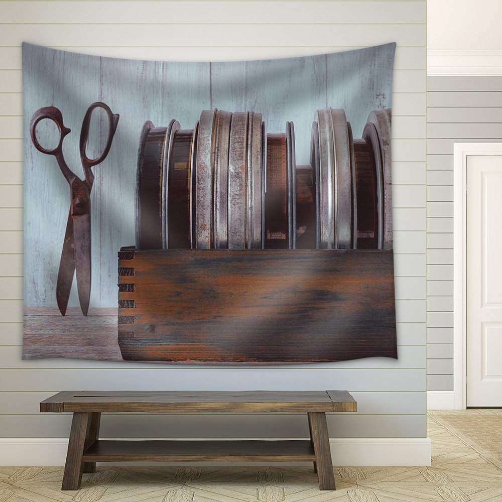 wall26 - Wooden box with old movies and scissors - Fabric Wall Tapestry Home Decor - 51x60 inches