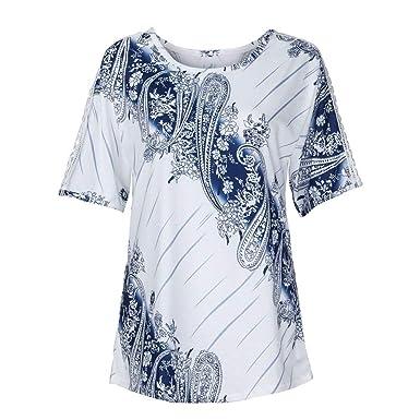601f7345cdc5 HWTOP Damen Tops Oberteil Langarmshirt Hemd T-Shirt Drucken ...