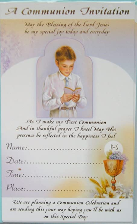 pack 12 boys first holy communion invitations invites gold print