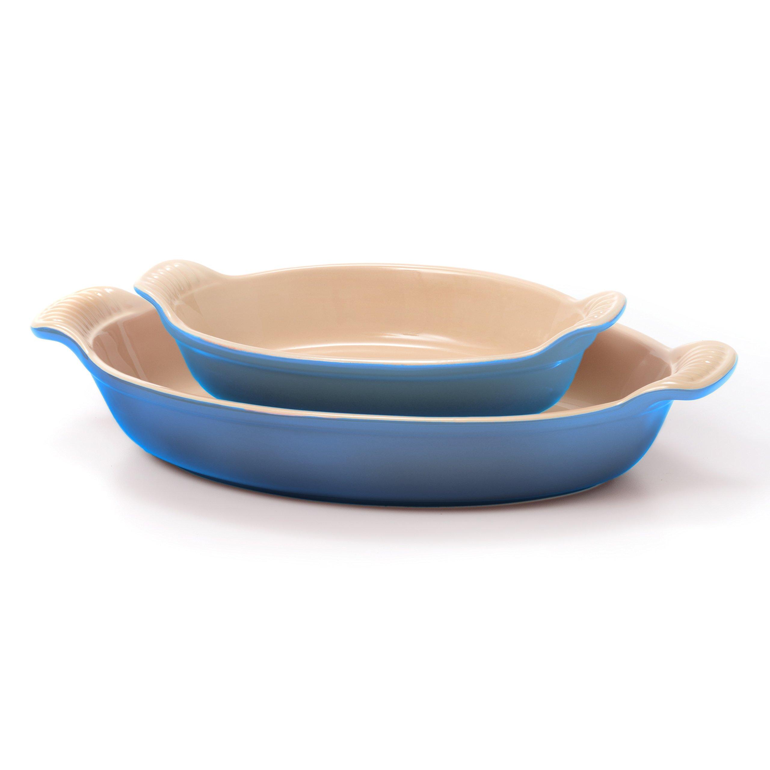 Le Creuset Heritage Marseille Blue Stoneware 2 Piece 24 Ounce and 1.7 Quart Au Gratin Dish Set