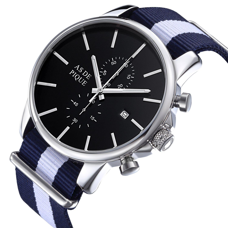 AS DE PIQUE Chrono Herren Luxus Armbanduhr Chronograph Nato Stoff Stoppuhr Datum 50m Wasserdicht silber blau weiss