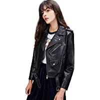 Gift for Her High Quality Jacket Coat Women Faux Leather Jacket Coat Spring Autumn Leather Coat Belted Utility Biker Jacket