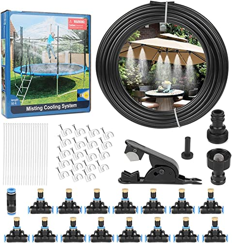 Outdoor Misting Cooling System 50FT 15M Outdoor Misters Automatic Plant Water Irrigation Fan Misting Mister Kit with 15pcs Brass Nozzles and a 3 4 and 1 2 Faucet Connector