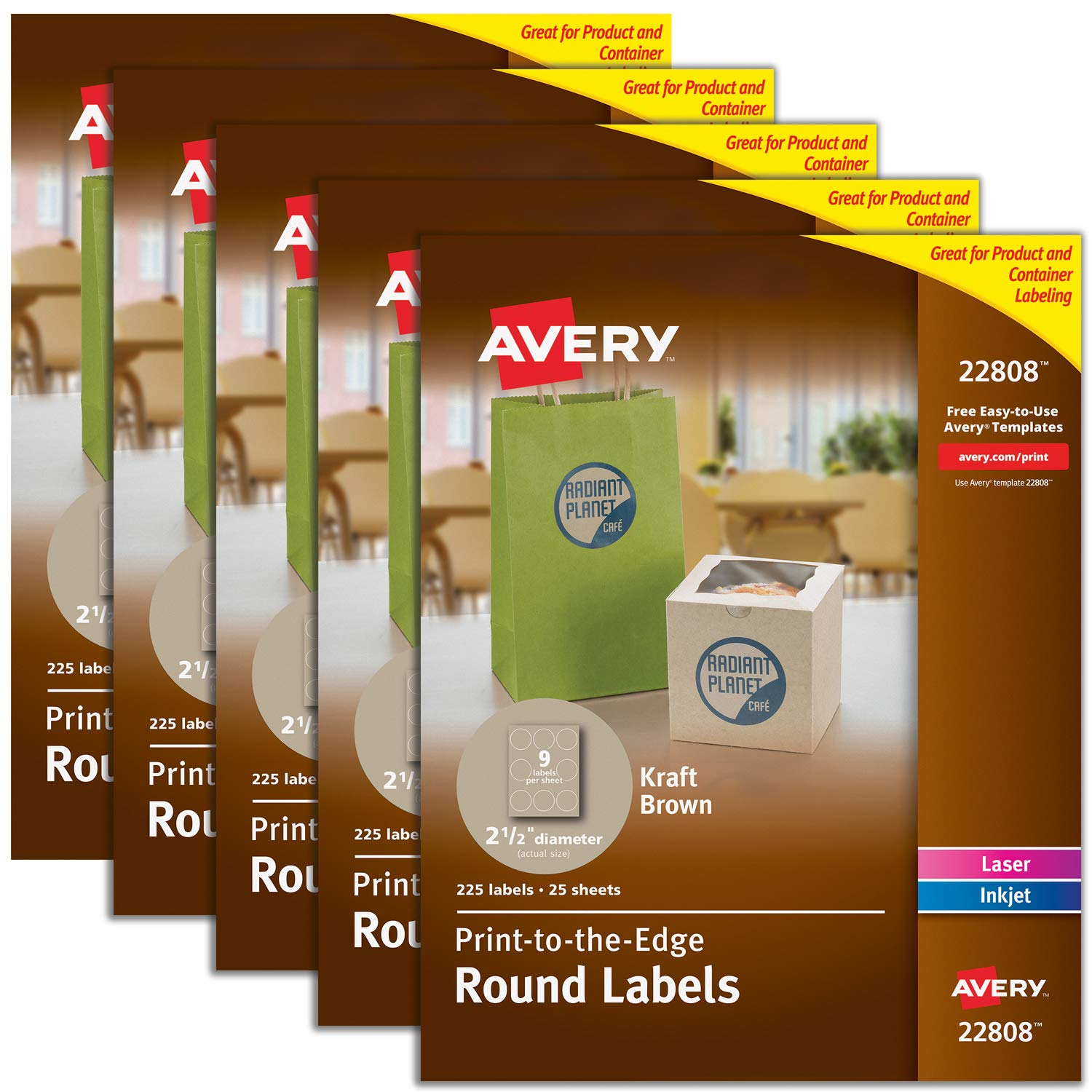 Avery Round Labels for Laser & Inkjet Printers, 2.5'', 5 Packs, 1,125 Labels Total, Kraft Brown Labels (22808) by AVERY