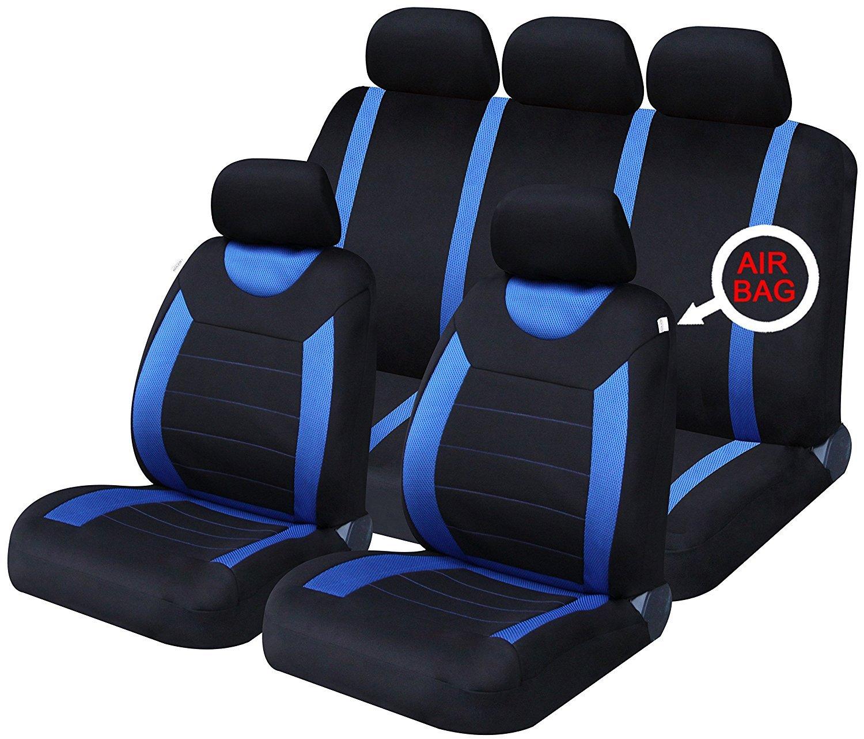 XtremeAuto Rallye Blue/Black Universal Car Seat Cover Protectors - Heavy Duty 9 Piece XtremeAuto®