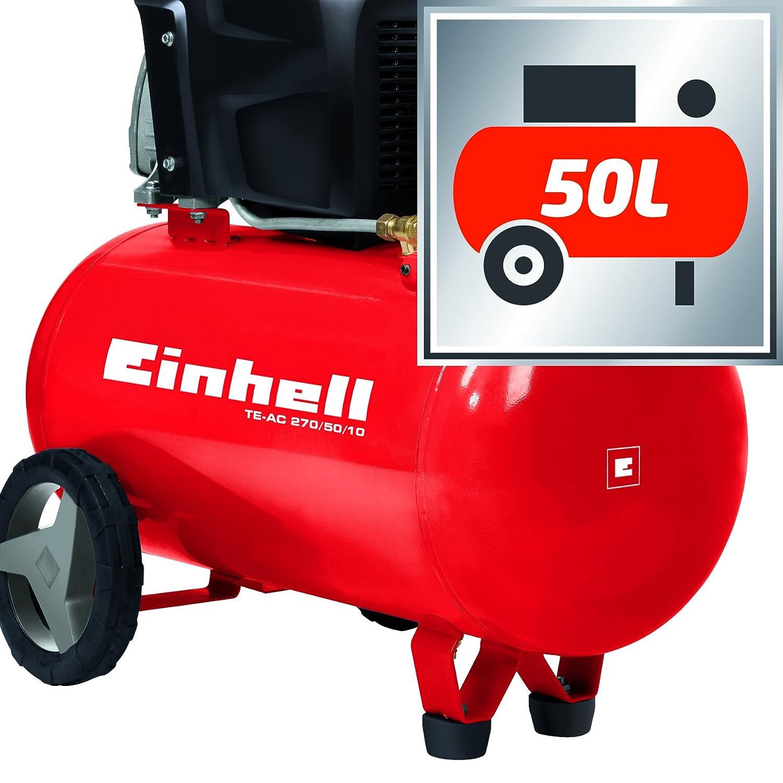 Einhell 4010440 Compresor TE-AC 270/50/10 Expert, 1800 W, Potencia de aspiración 270 l/min, 2850 RPM, presión máxima 10 Bares, Capacidad de 50 L, 230 V, ...