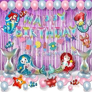 Mermaid Party Decoration Ocean Park Mermaid Princess Balloon Girls' Birthday Party Accessories Set