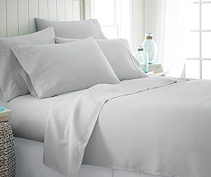 ienjoy Home 6 Piece Bed Sheet Set, Twin, LGRAY