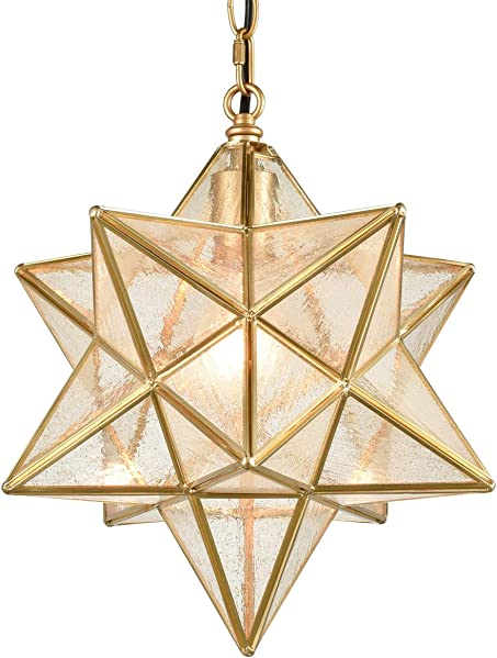 Dazhuan Brass Moravian Star Pendant Lighting Seeded Glass Pendant Lights 13 1/2 inche
