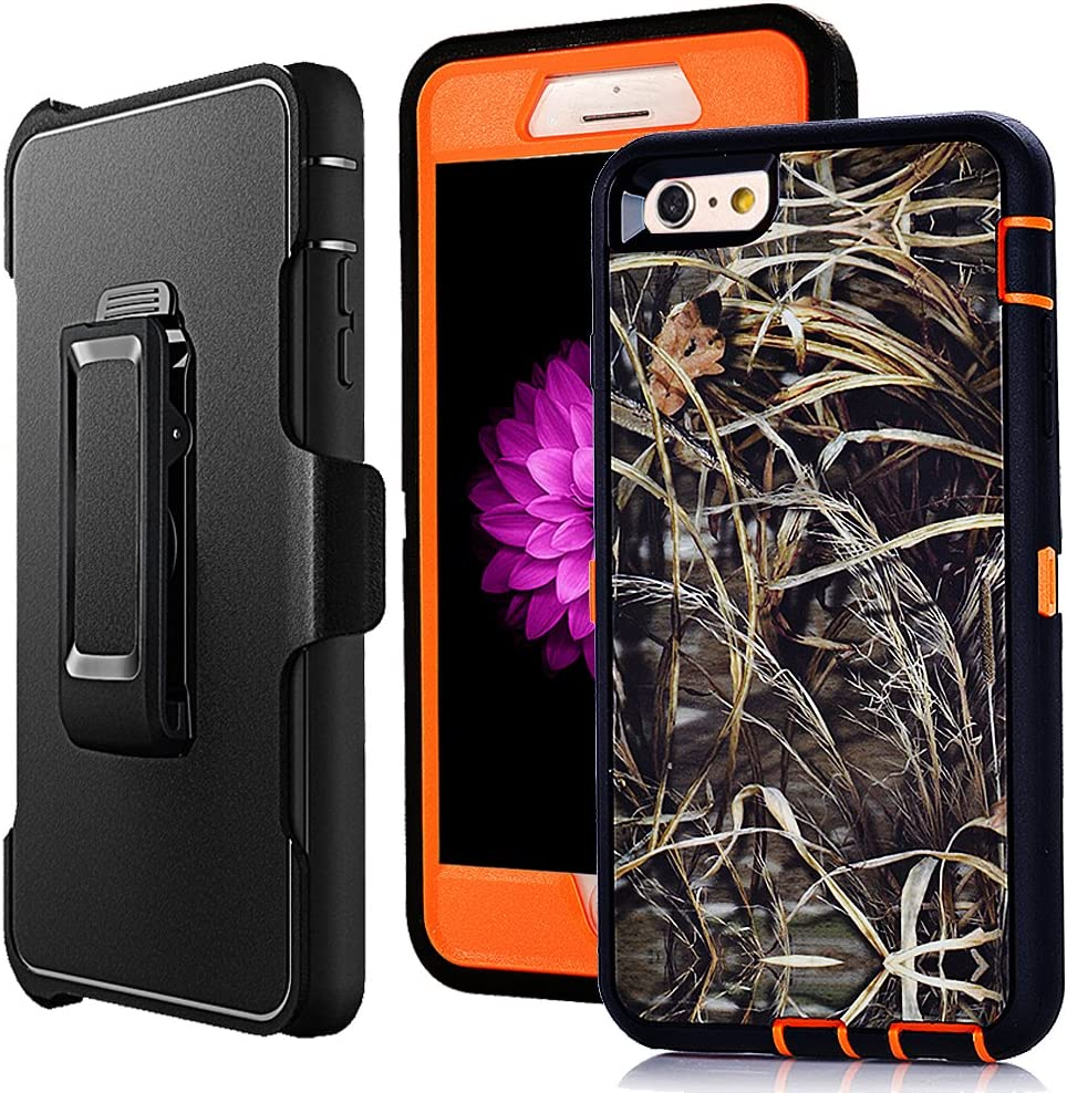 """iPhone 6 Plus Holster Case,Harsel Defender Heavy Duty Shock Absorbent Camo Natural Wood 360 Rugged Hybrid Protection Case w/Screen Protector & Rotating Clip for iPhone 6 Plus /6s Plus 5.5"""" (Grass O)"""