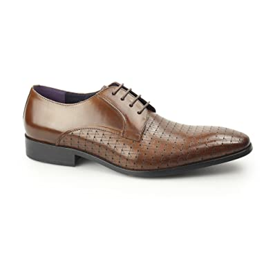 059c91f076ad5 Gucinari BESO Mens Leather Laser Cut Derby Shoes Tan 43  Amazon.co ...