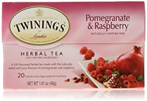Twinings of London Pomegranate & Raspberry Herbal Tea Bags, 20 Count