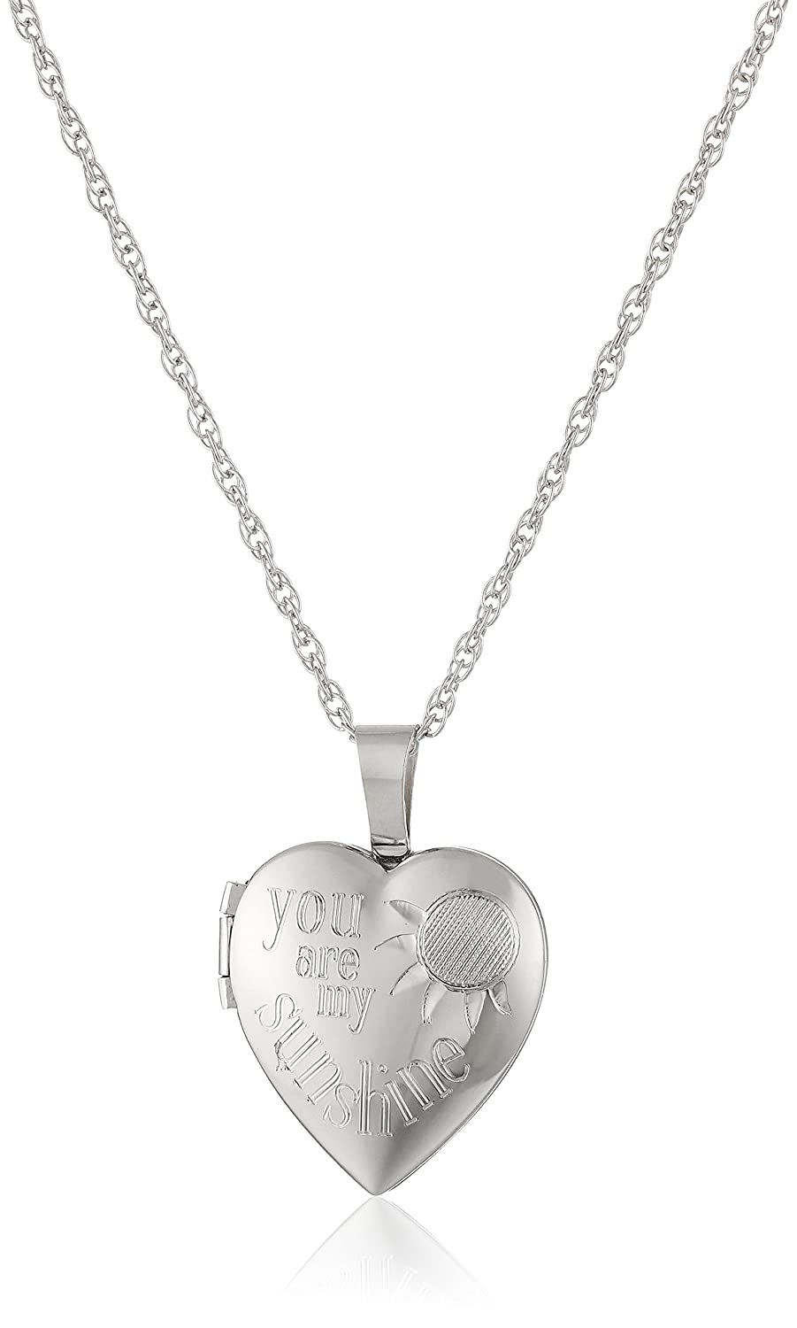 Ladies' Sterling Silver Heart Pendant with You are My Sunshine Locket Necklace, 18 18 Amazon Collection AMZ918F