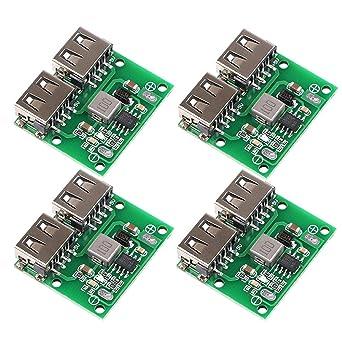 4 piezas Tablero de suministro de energía móvil,Módulo de alimentación del cargador USB DC-DC reductor 9V 12V 24V a 5V Salida USB doble Junta de ...