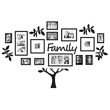 19-Piece Picture Frames Eye-Catching Collage  Family  Tree Picture Frame Set in Black (Set Holds Up to 17 Photos Total)