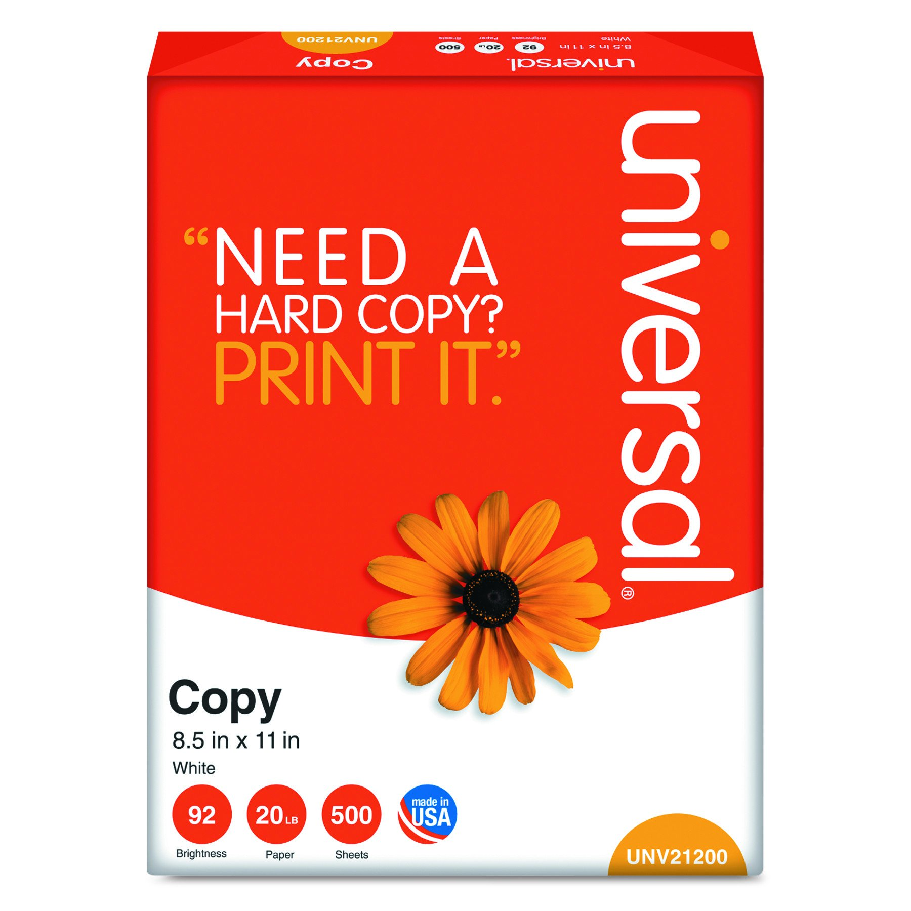 Universal 21200 Copy Paper, 92 Brightness, 20lb, 8-1/2 x 11, White (Case of 5000 Sheets)