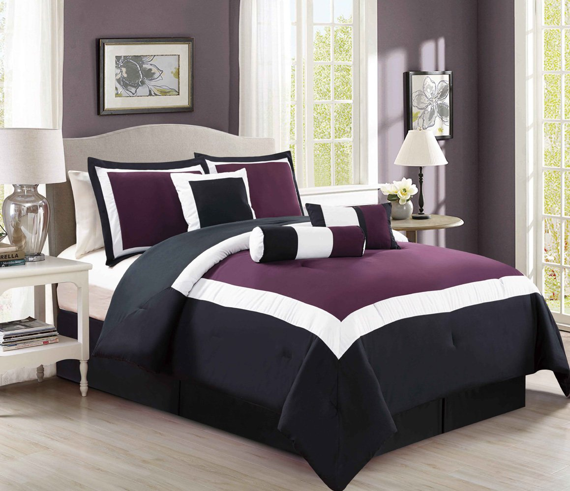 7 Piece Oversize Purple / Black / White Color Block Comforter set