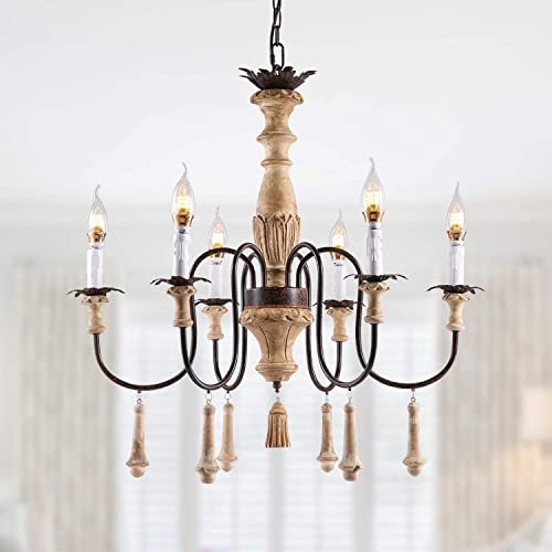 NOXARTE French Country Chandelier Farmhouse Wood Candle Pendant Light 6 Arms Rustic Ceiling Light