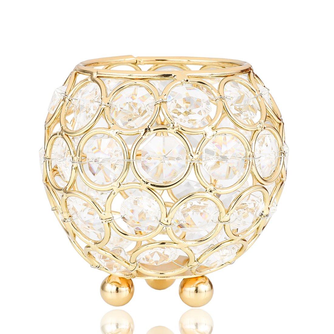 Desconocido H& D - Portavelas de Cristal con Diseño de Velas de Té, para Decoración de Mesas, centros de Mesa de Boda, Diseño Moderno (Oro) LTD
