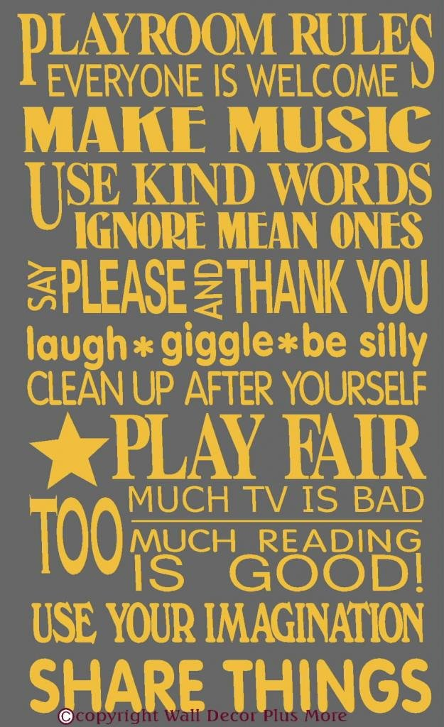 Amazon.com: Playroom Rules Wall Vinyl Sticker Decal 23Hx14W Quotes ...