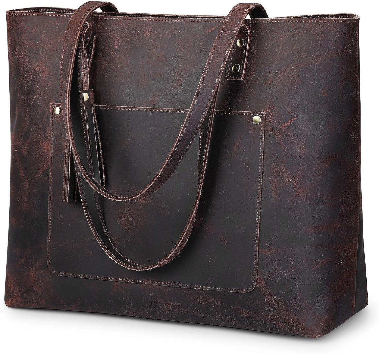 S-ZONE Women Vintage Genuine Leather Shoulder Tote Bag Large Work Purse Handbag