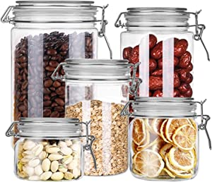 Yesland Airtight Acrylic Canister Set - Set of 5 - Food Storage Container with Lids for Kitchen Counter, Sugar, Tea, Coffee & Caddy