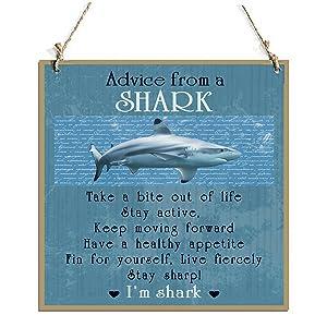 "Advice From A Shark Decorative Sign With Shark Decor Sign Blue(11"" x 11"")"