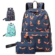 VentoMarea Fox Girls Teen Girls School Backpack Set College High School Student Bookbags Lightweight Travel Laptop Daypack with Pencil Pouch