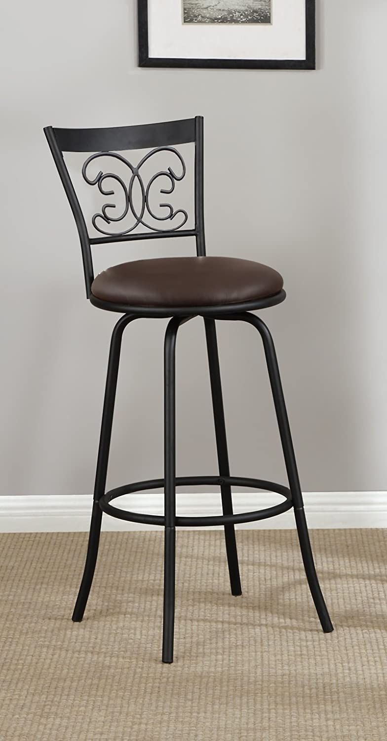 Dark Bronze Finish Leather like Scroll Back Adjustable Metal Swivel Counter Height Bar Stools Set of 2