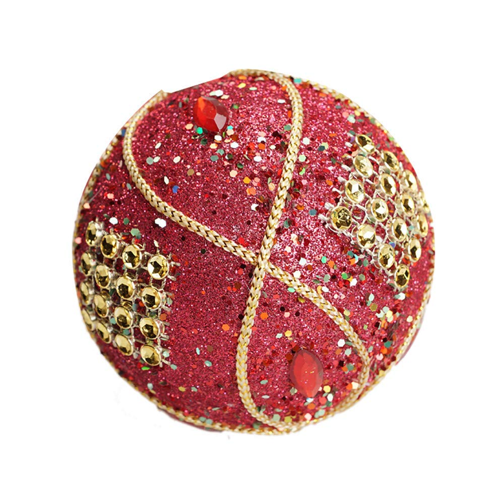 Christmas Ball Ornaments Decoration Christmas Rhinestone Glitter Baubles Balls Xmas Tree Ornament Decoration (8cm in Diameter) (Red)