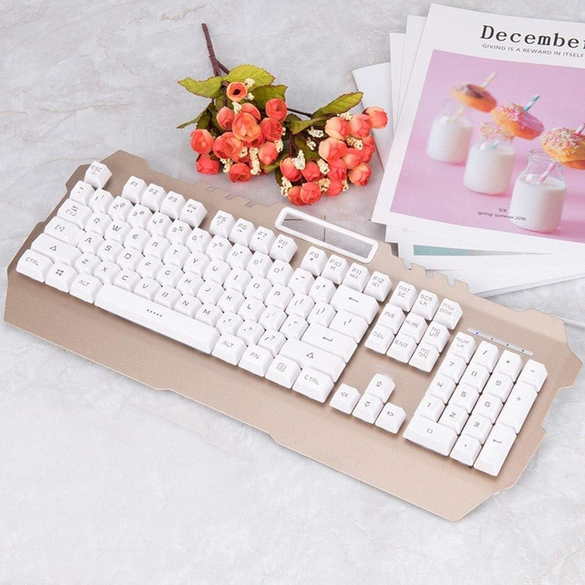 Mechanical Feel Game Desktop Laptop Keyboard Fashion White Yellow Light, 46.419.22.3cm Jingfeng Keyboard Color : Black-Yellow Cable Esport Ergonomic Design