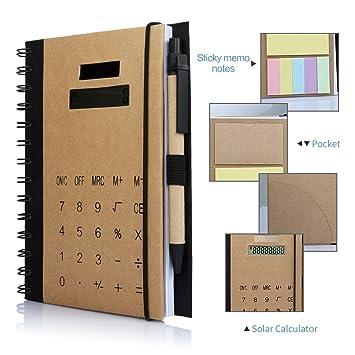 Betterhill Oficina de Business espiral cuadernos, Agenda B5 calculadora solar cuadernos con notas adhesivas, organizador tarjeta solt y bolígrafo (18 ...