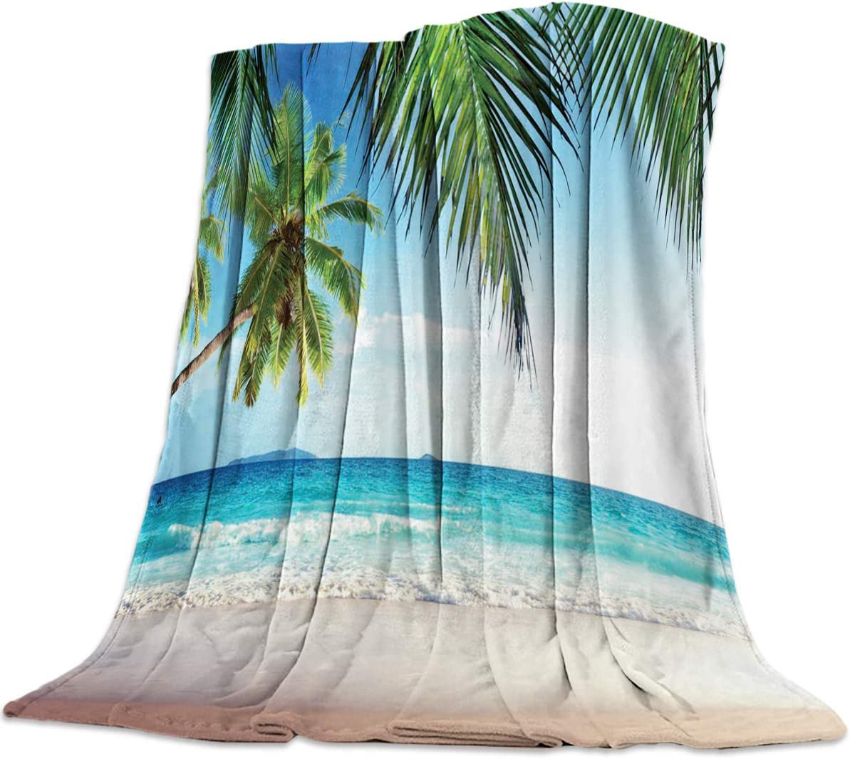 Funy Decor Palms Tree Ocean Tropical Sea Super Soft Throw Blankets Beach Theme Warm Cozy Flannel Bed Blanket Decorative for Home Sofa Couch Chair Living Bedroom,60x80