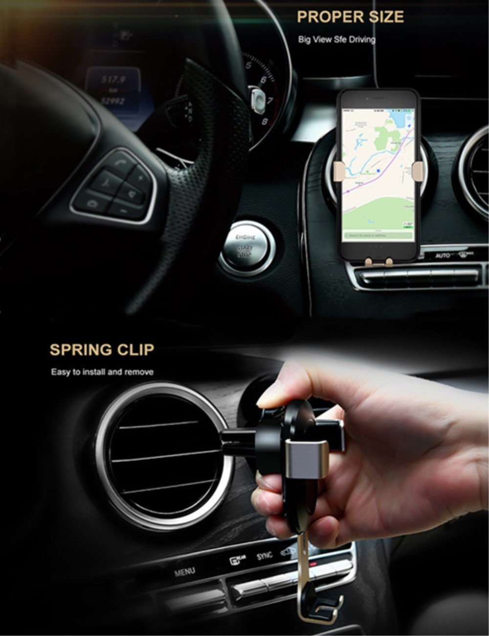 Air Vent clip car mount for iphone 7//7plus 6 6s Gravity Car phone holder,Metal cell phone car holder Gold Samsung Galaxy S7 S6 HTC xiaomi Hua wei and more other Type phone HuiGoriH 4333147084