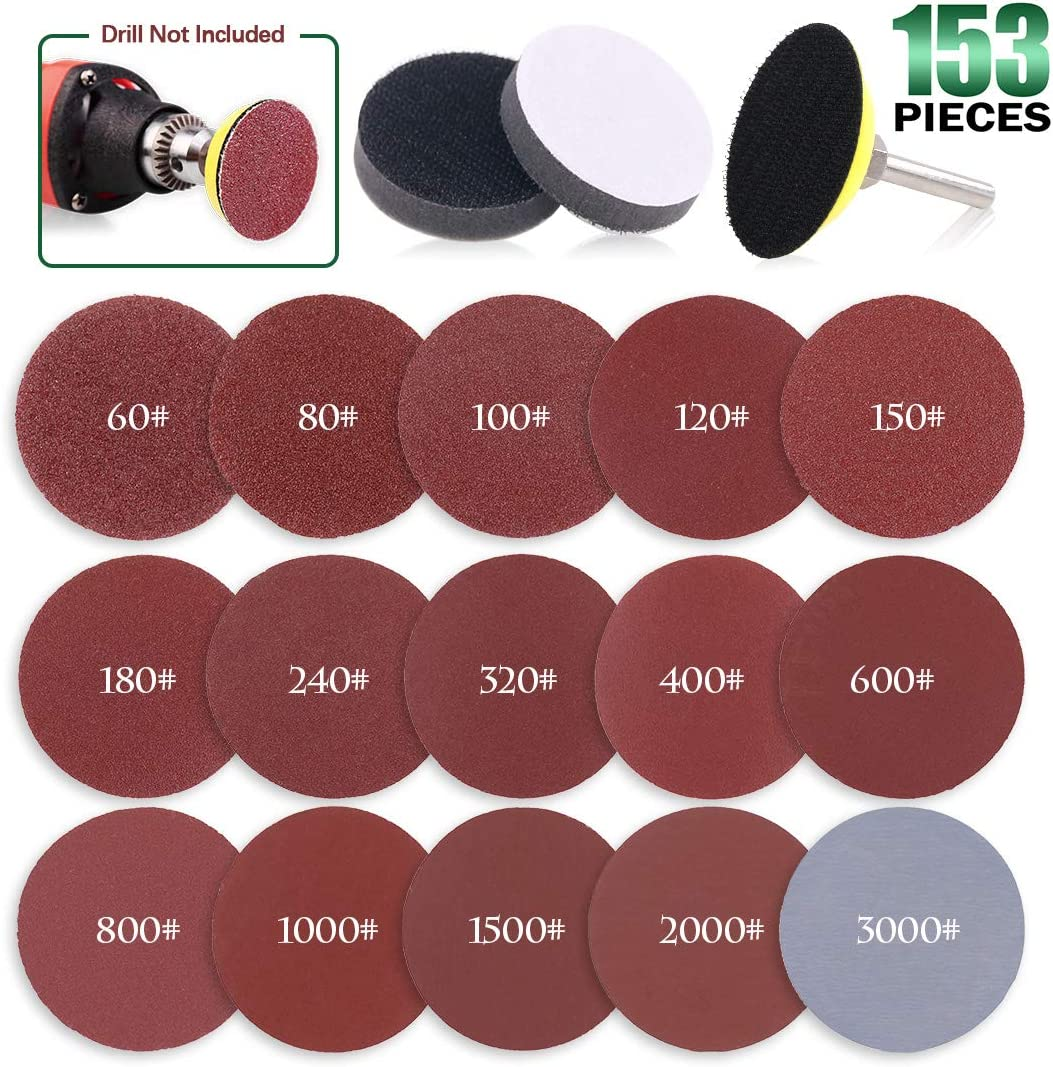 """Keadic 2 inch 150pcs Sanding Discs Pad Kit 60-3000 Grit includes Backer Plate with 1/4"""" Shank and Sponge Cushion for Drill Grinder Rotary Tools"""
